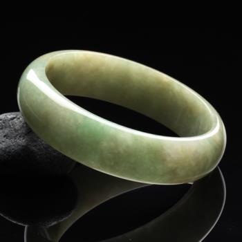 【雅紅珠寶】湖水綠天然綠翡翠圓形玉鐲(寬版#19.5)