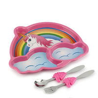 【KIDSFUNWARES】造型兒童餐盤組-彩虹小馬-行動