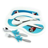 【KIDSFUNWARES】造型兒童餐盤組-飛機-行動