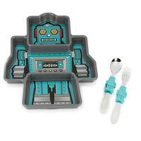 【KIDSFUNWARES】造型兒童餐盤組-機器人-行動