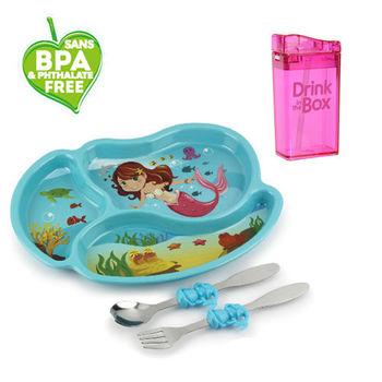 兒童環保無毒餐具組合-餐盤+水瓶-粉色美人魚組