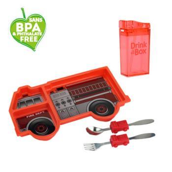 兒童環保無毒餐具組合-餐盤+水瓶-紅火消防車組-行動