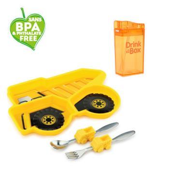 兒童環保無毒餐具組合-餐盤+水瓶-橘子工程車組-行動