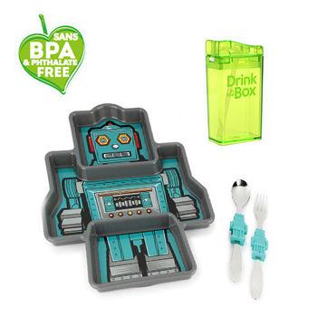 兒童環保無毒餐具組合-餐盤+水瓶-綠地機器人組-行動