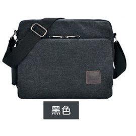 窩自在★大尺寸多功能多夾層帆布包/斜肩包-黑色