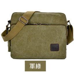 窩自在★大尺寸多功能多夾層帆布包/斜肩包-軍綠色