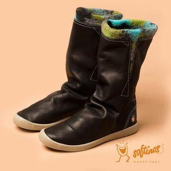 Softinos(女)☆獨色風情軟式真皮中筒毛靴 - 黑/藍綠