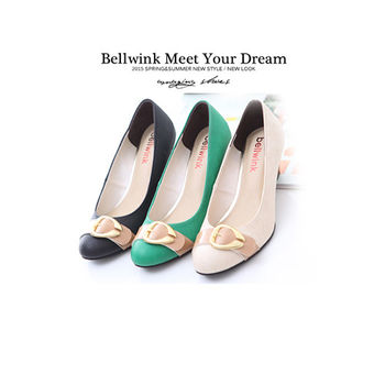 【bellwink】B9112亮面金屬扣皮紋圓頭低跟鞋-白色/黑色/綠色