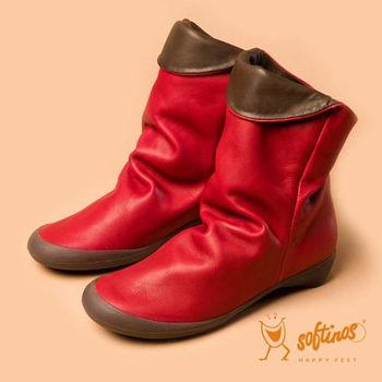 Softinos(女)☆頑皮彼得潘雙色軟式真皮舒適中靴 - 紅咖