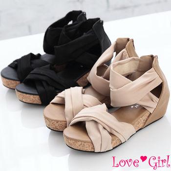 ☆Love Girl☆率性寬版交叉環裸厚底羅馬涼鞋