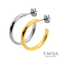【TiMISA】格緻真愛-細版(雙色) 純鈦耳環一對