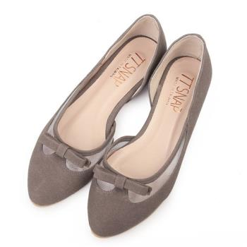 TTSNAP內增高-MIT蝴蝶結網紗小尖頭真皮平底鞋-可可灰-行動