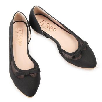 TTSNAP內增高-MIT蝴蝶結網紗小尖頭真皮平底鞋-百搭黑-行動