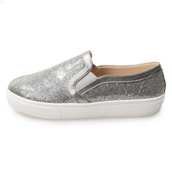 TTSNAP厚底樂福鞋-MIT時尚耀眼亮片真皮休閒鞋 灰-行動