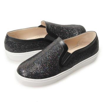 TTSNAP厚底樂福鞋-MIT時尚耀眼亮片真皮休閒鞋 黑-行動