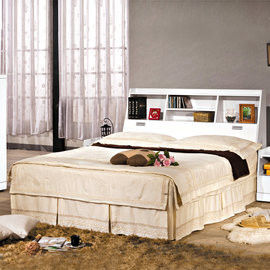 【時尚屋】[UZ6]福特白色6尺書架型加大雙人床UZ6-75-3+75-4不含床頭櫃-床墊