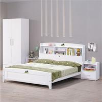 【時尚屋】[UZ6]菲莉絲白色5尺彩繪書架雙人床UZ6-68-1不含床頭櫃-床墊