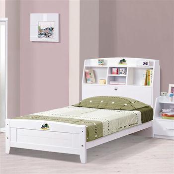 【時尚屋】[UZ6]菲莉絲白色3.5尺彩繪書架加大單人床UZ6-67-1不含床頭櫃-床墊