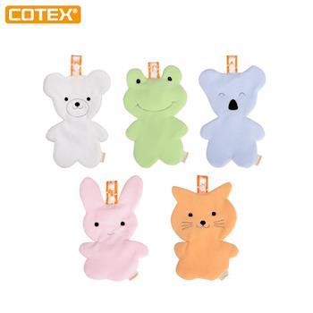 【COTEX】感覺統合動物造型安撫巾-5入每色各一  咬咬巾/奶嘴掛/口水巾