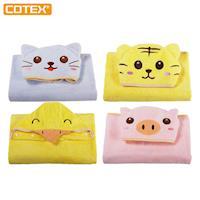 【COTEX】可愛動物大浴巾-無棉絮 防過敏 超吸水 也可當浴袍