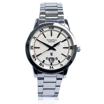 【Arseprince】羅馬時光復古時尚男錶-白色