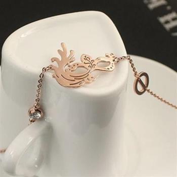 【米蘭精品】玫瑰金鑲鑽純銀手鍊創意時尚面具