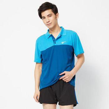 V.TEAM-配色剪接吸排POLO衫-藍