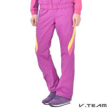 V.TEAM-撞色防潑水風衣長褲-女-紫紅