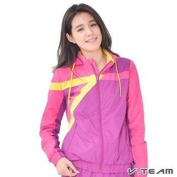V.TEAM-撞色防潑水連帽風衣外套-女-紫紅