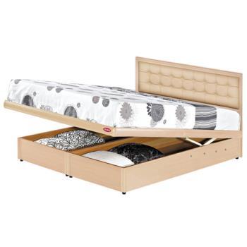 【顛覆設計】5尺雙人房間兩件組-皮扣床頭片+掀床(四色可選)