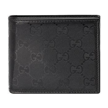 GUCCI GG Imprime雙G亮面壓紋對開短夾(黑色/8卡)
