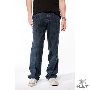 【NST Jeans】002(8848)褲頭折線天絲棉 休閒牛仔褲 (中高腰寬版)-行動