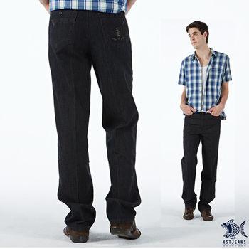 【NST Jeans】390(8960) 藍黑色質感 徽章圖騰 休閒長褲(中腰)