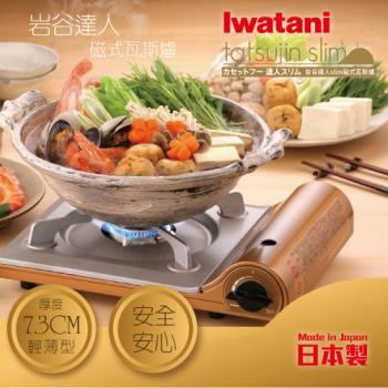 日本Iwatani岩谷達人slim磁式超薄型高效能瓦斯爐-日本製造-香檳金CB-AS-1