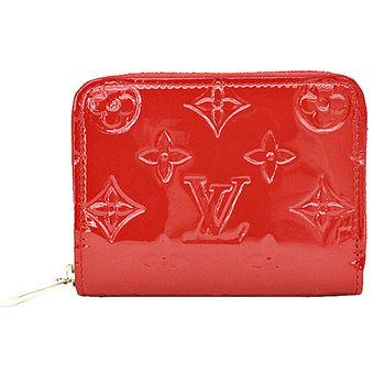 LV M90202 經典花紋全漆皮壓紋信用卡零錢包.紅 預購