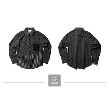 REPUTATION Shuiyu Little Stitching Shirts - 多裁片拼接點點襯衫-行動