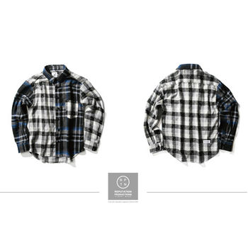 RPTN Vintage Little Plaid Splice Shirt - 拼接點點格紋襯衫 / 藍-行動