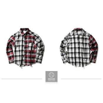 RPTN Vintage Little Plaid Splice Shirt - 拼接點點格紋襯衫 / 紅-行動