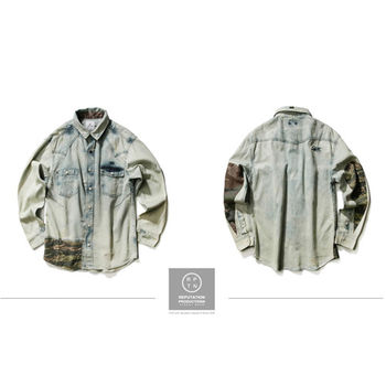 Reputation Splice Camouflage Denim Shirts-拼接迷彩水洗牛仔襯衫-行動