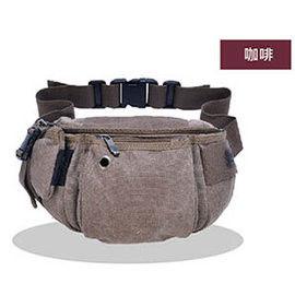 窩自在★大容量休閒運動腰包/防搶腰包-咖啡色