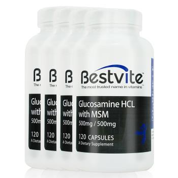 【美國BestVite】必賜力葡萄糖胺+MSM膠囊4瓶組 (120顆*4瓶)