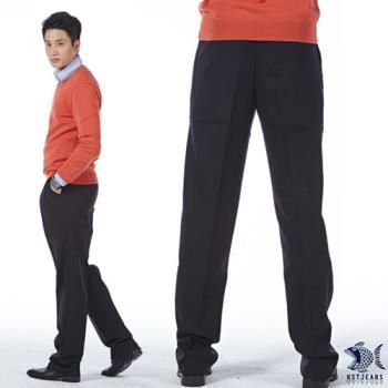 【NST Jeans】002(8876) 黑系優越質感 打摺西裝褲(中高腰寬版)-行動