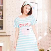 Wonderland LOVE PINK居家休閒洋裝(藍)