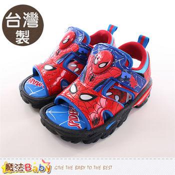 魔法Baby 男童鞋 台灣製蜘蛛人正版閃燈運動涼鞋~sa65052
