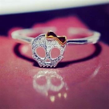 【米蘭精品】925純銀戒指銀飾骷髏造型清新可愛