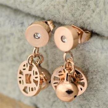 【米蘭精品】玫瑰金鑲鑽耳環耳針式925純銀銅錢鈴鐺