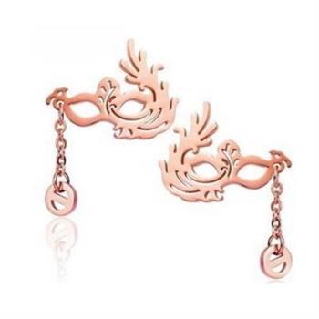 【米蘭精品】玫瑰金耳環耳針式925純銀舞會面具