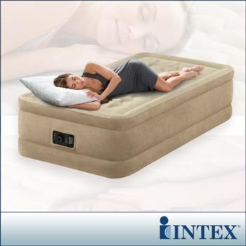 【INTEX】超厚絨豪華單人加大充氣床-寬99cm (內建電動幫浦)fiber-tech新型-行動