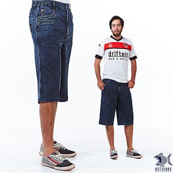 【NST Jeans】002(9371) 粗縫黃金線三層口袋 牛仔短褲(中高腰鬆緊帶寬版)-行動