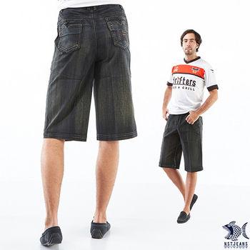 【NST Jeans】002(9372) 竹林秋風 鬆緊六袋款牛仔短褲(中高腰鬆緊帶寬版)-行動